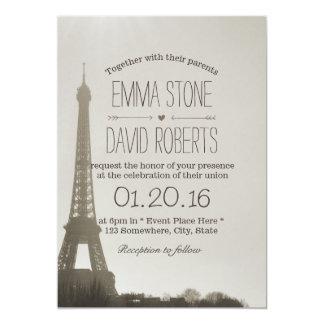 Boda de la torre Eiffel de París del vintage Invitación 12,7 X 17,8 Cm