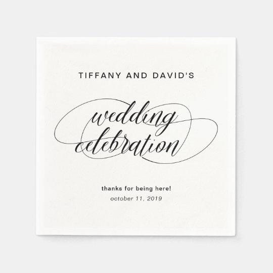 Boda de lujo blanco y negro de la escritura servilleta de papel