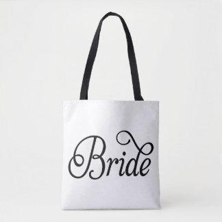 Boda de lujo de la escritura de la novia por todo bolsa de tela