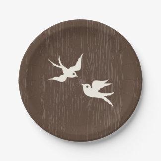 Boda de madera de Brown de las palomas de los Plato De Papel