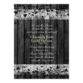 Boda de madera del cordón del negro del texto del invitación 13,9 x 19,0 cm