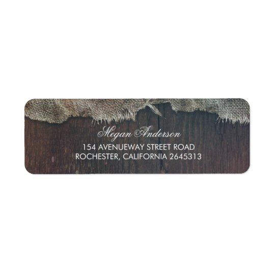 Boda de madera del granero del país de la etiqueta de remitente