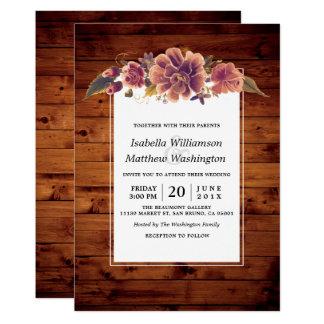 Boda de madera del granero rústico floral invitación 12,7 x 17,8 cm