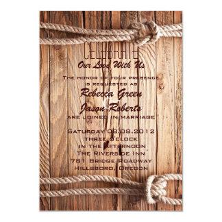 boda de madera del país occidental del vaquero del invitación 12,7 x 17,8 cm
