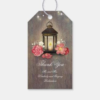 Boda de madera rústico del granero de la linterna etiquetas para regalos