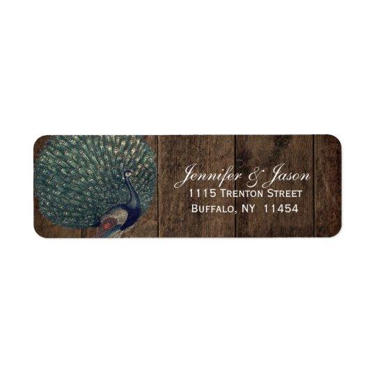 Boda de madera rústico del pavo real de la pluma etiqueta de remitente