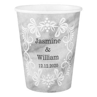 Boda de mármol gris elegante del modelo vaso de papel