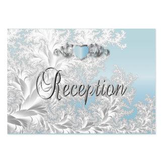 Boda de moda moderno en un damasco del azul de la tarjetas de visita grandes