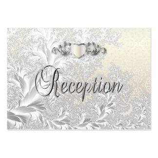 Boda de moda moderno en un damasco del blanco de tarjetas de visita grandes