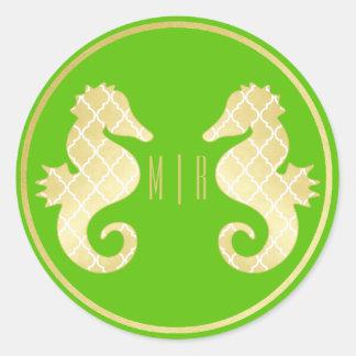 Boda de muy buen gusto del oro verde del Seahorse Pegatina Redonda