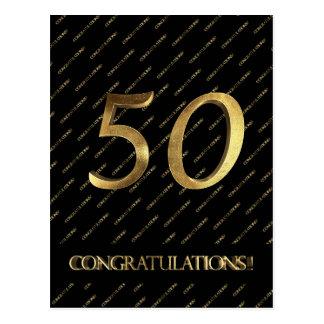 Boda de oro cumpleaños negro del oro del número 50 postal