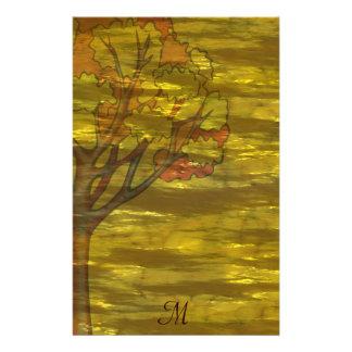 Boda de oro del árbol del otoño de la hoja papelería personalizada