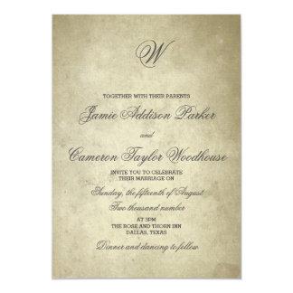 Boda de papel del vintage simple del monograma el invitación 12,7 x 17,8 cm