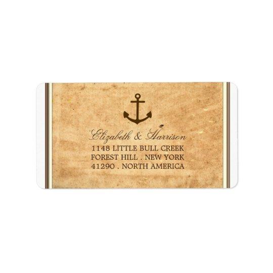 Boda de papel enmarcado ancla náutica del vintage etiqueta de dirección