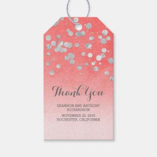 Boda de plata del rosa del confeti etiquetas para regalos