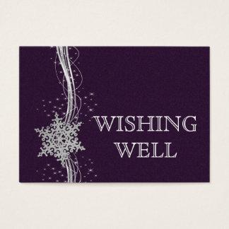 boda de plata púrpura del invierno que desea bien tarjeta de negocios