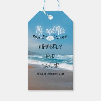 Boda de playa azul etiquetas para regalos