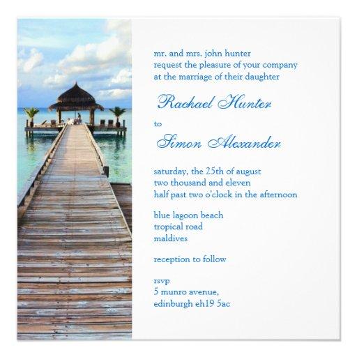 Boda de playa de Maldivas del embarcadero de la se Invitaciones Personalizada