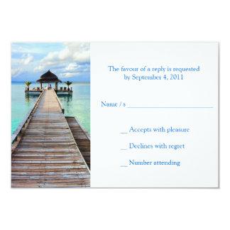 Boda de playa del embarcadero de la serenata RSVP Invitación 8,9 X 12,7 Cm