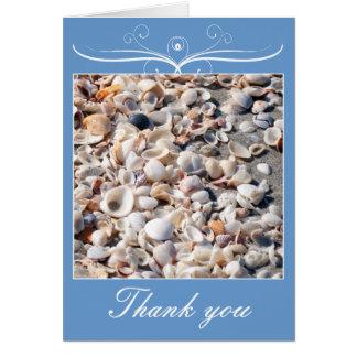 Boda de playa, gracias con la tarjeta de las