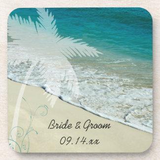 Boda de playa tropical apoyavasos