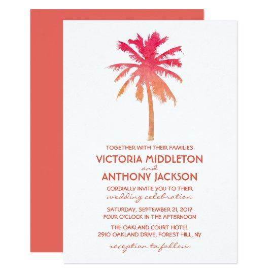 Boda de playa tropical de la palmera de la puesta invitación 12,7 x 17,8 cm