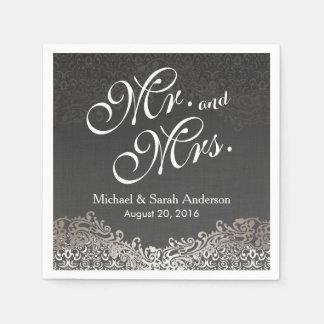 Boda de Sr. y de señora Elegant Dark Silver Damask Servilletas Desechables