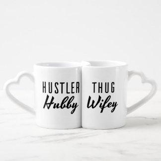 Boda de Wifey del marido y del gamberro el Set De Tazas De Café