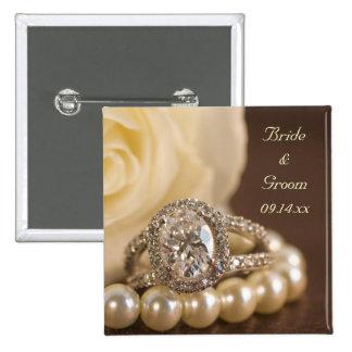 Boda del anillo de diamante oval y del rosa blanco chapa cuadrada