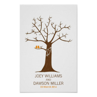 Boda del árbol de la huella dactilar (blanco) póster