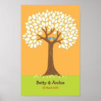 Boda del árbol de la huella dactilar/de la firma póster