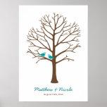 Boda del árbol de la huella dactilar de los pájaro posters