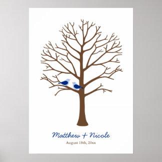 Boda del árbol de la huella dactilar de los pájaro póster