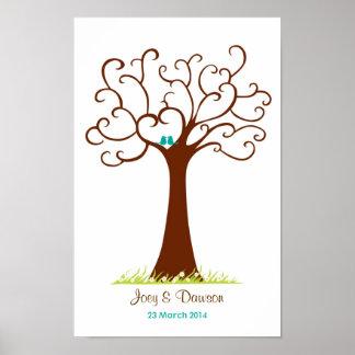 Boda del árbol de la huella dactilar - Heartastic Póster