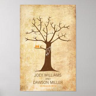 Boda del árbol de la huella dactilar (vintage póster