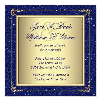 Boda del azul real y del oro invitación 13,3 cm x 13,3cm