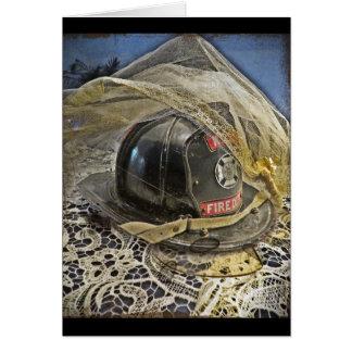 Boda del bombero tarjeta de felicitación