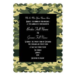 Boda del campesino sureño del camo del ejército invitación 12,7 x 17,8 cm