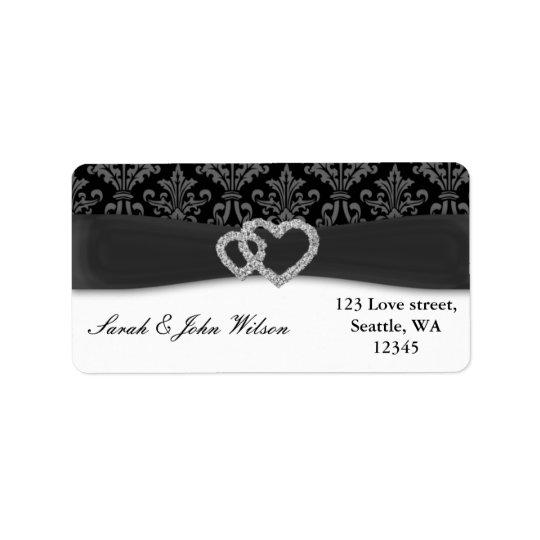 boda del carbón de leña del damasco del diamante etiquetas de dirección