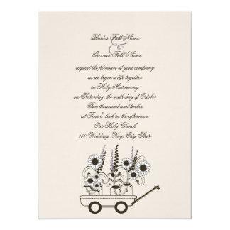 Boda del carro del girasol invitación 13,9 x 19,0 cm