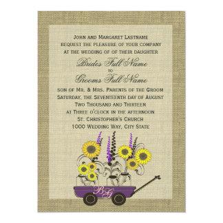 Boda del carro y de la arpillera del país invitación 13,9 x 19,0 cm