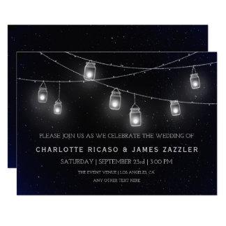 Boda del cielo nocturno de las luces de las invitación 12,7 x 17,8 cm