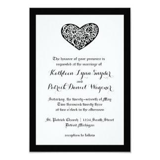 Boda del corazón de Swirly - invitación del boda