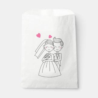 Boda del corazón del rosa del dibujo animado de bolsa de papel