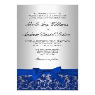 Boda del cordón de los azules marinos y de la invitación 12,7 x 17,8 cm