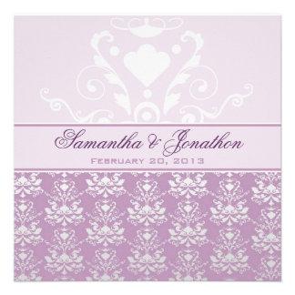 Boda del damasco de la violeta africana y de la pl invitacion personalizada