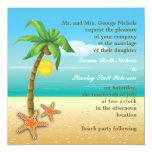 Boda del destino de la playa de la palmera y de comunicado