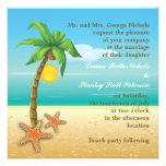 Boda del destino de la playa de la palmera y de la comunicado