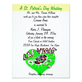 Boda del día de Las Vegas St Patrick contemporáneo Invitación 10,8 X 13,9 Cm