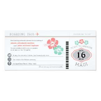 Boda del documento de embarque del hibisco de Maui Invitación 10,1 X 23,5 Cm